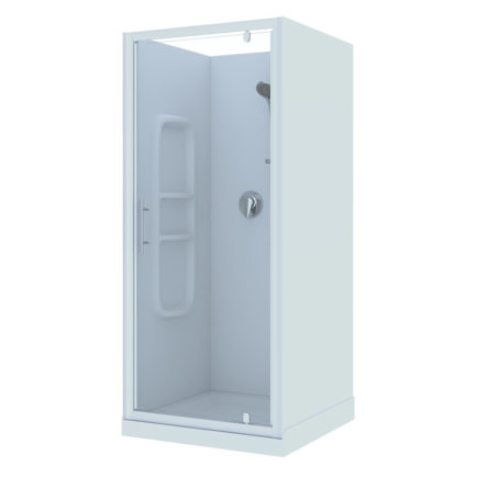 900x900 3 Sided Moulded Wall White